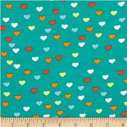 Dakota Stretch Rayon Jersey Knit Hearts Teal Fabric