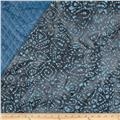 Indian Batik Double Sided Quilted Abstract Paisley Lt. Blue/Taupe