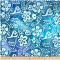 Indian Batik Floral Scroll Blue