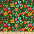Riley Blake Flannel My Sunshine Large Floral Green