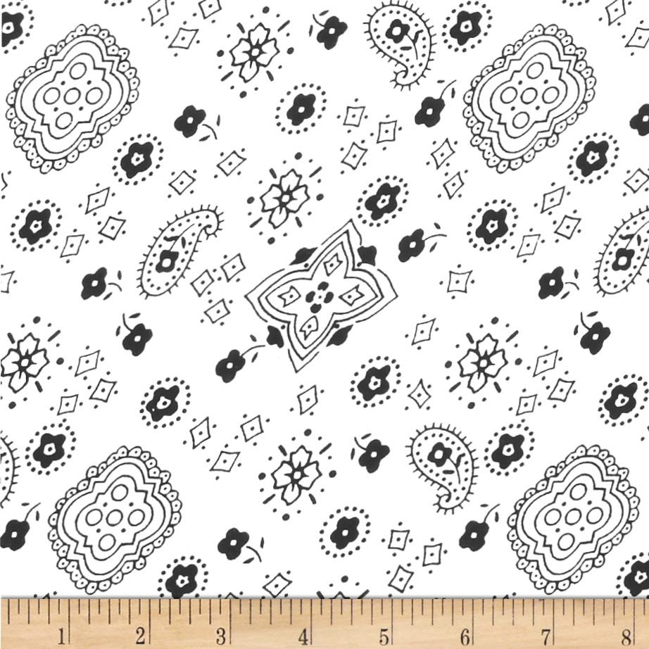 Cotton Blend Broadcloth Bandana Print White