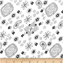 Cotton Blend Broadcloth Bandana Print White Fabric
