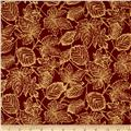 Moda Autumn Elegance Metallic Leaves Cinnamon
