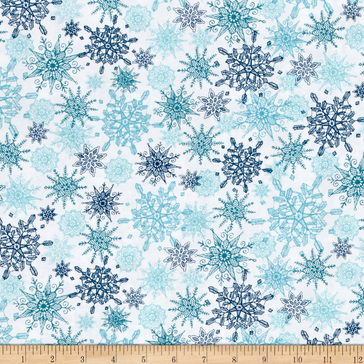 Winter Frost Snowflakes Aqua Fabric by Quilting Treasures in USA