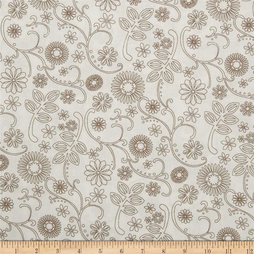 110 wide quilt backing signature white taupe discount for Quilting material