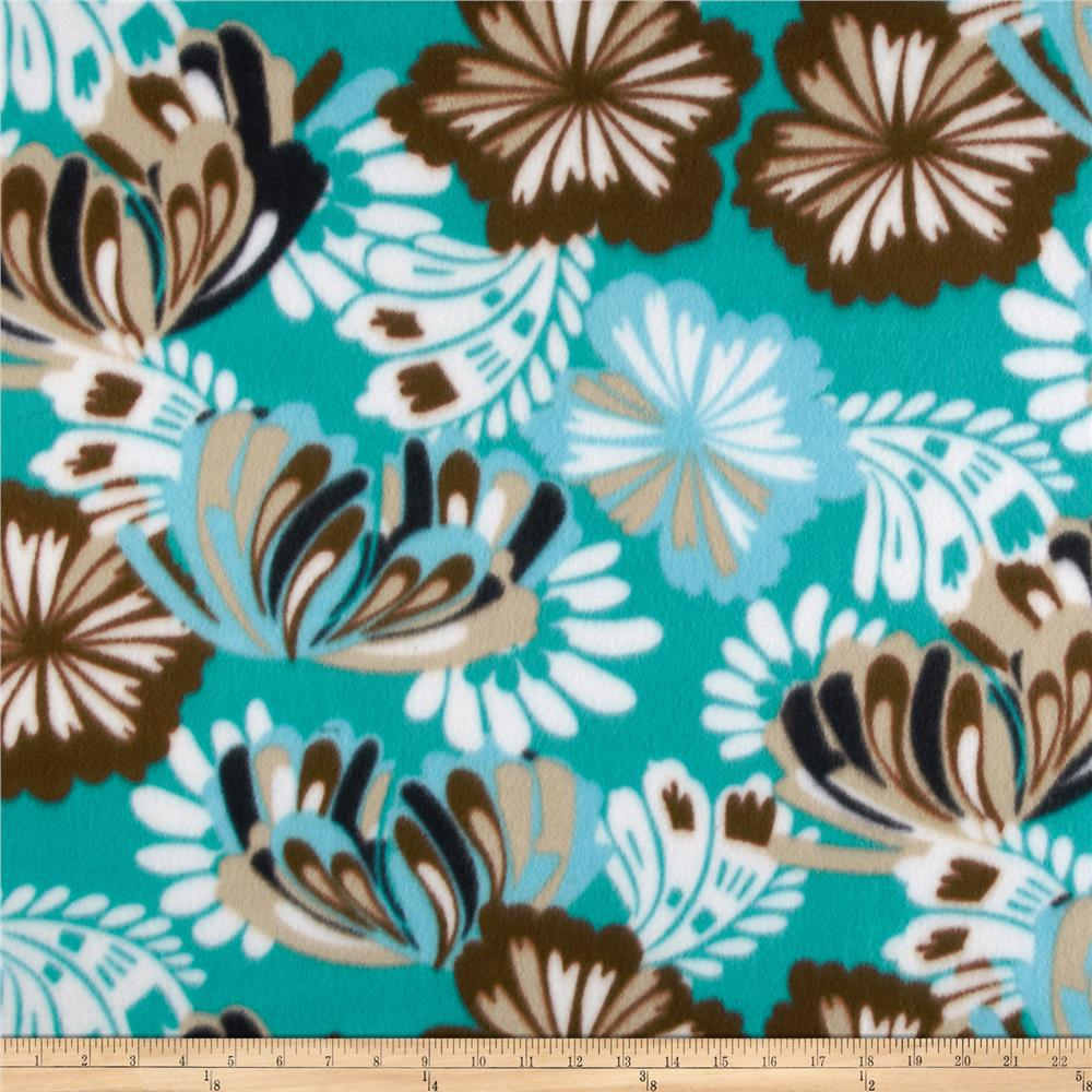 Novelty Fleece Hawaiian Floral Brown/Aqua