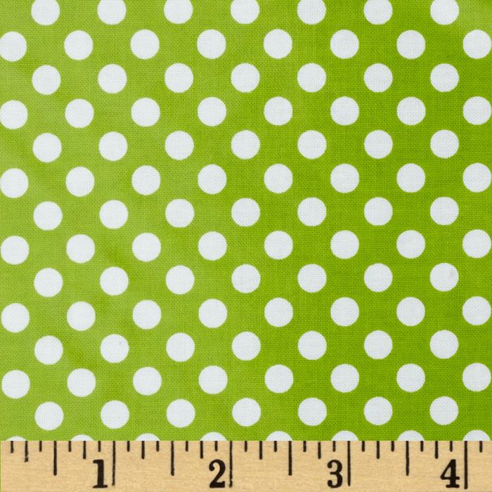 Riley Blake Laminated Cotton Small Dots Lime/White
