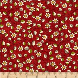 Victory Small Floral Red Fabric