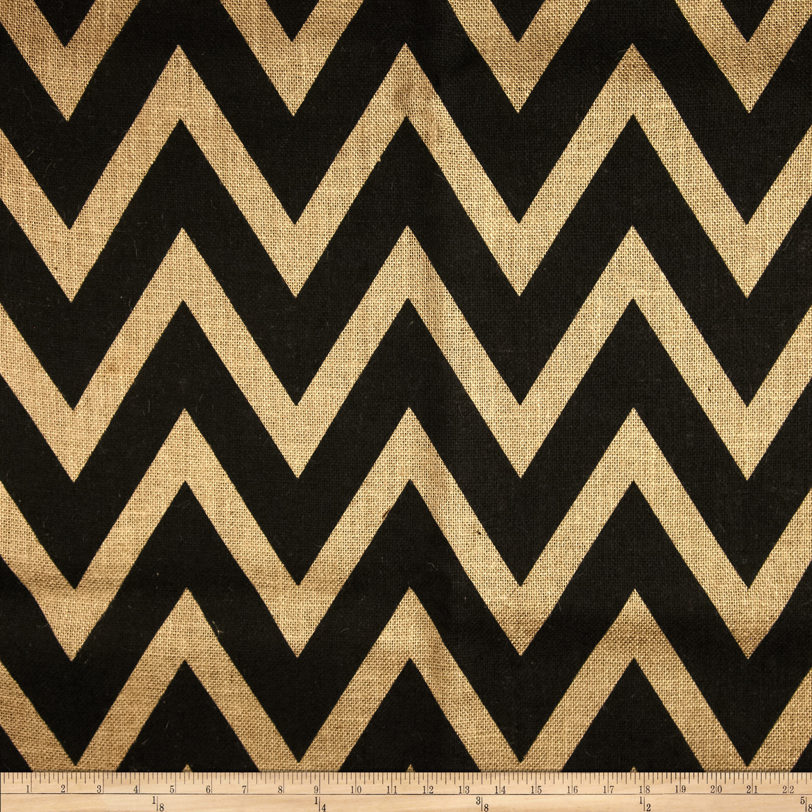 60'' Sultana Chevron Burlap Natural/Black Fabric