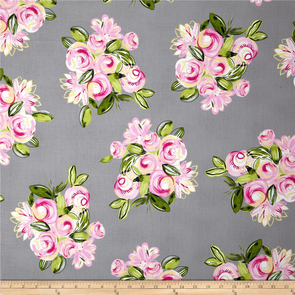 Michael Miller Delightful Bella Bouquet Cloud Grey
