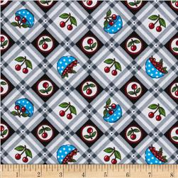 Mary Engelbreit Very Cherry Gingham Fabric Grey