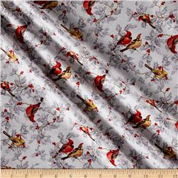 Moda Forest Frost Glitter Metallic Cardinals Cloud