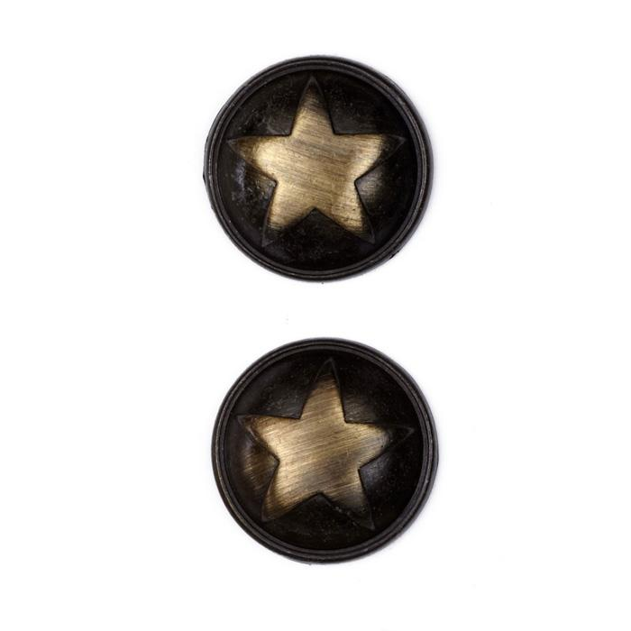 "Metal Button 1"" Polished Star Brass"