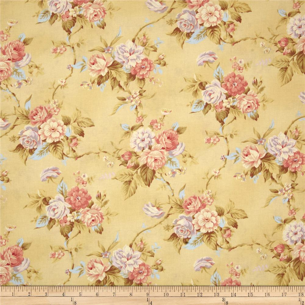 World of romance floral yellow discount designer fabric for Cloth world fabrics