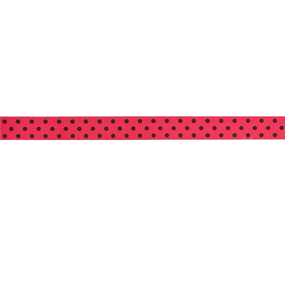 "May Arts 5/8"" Grosgrain Dots Ribbon Spool Fuchsia/Black"