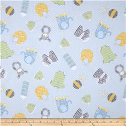Precious Baby Flannel Tossed Toys Blue