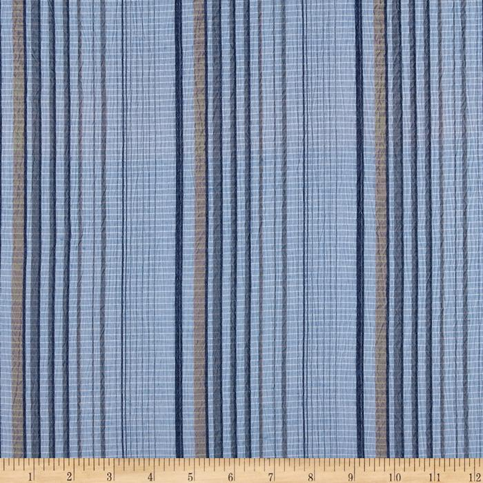 Pucker Yarn Dyed Shirting Stripes Blue