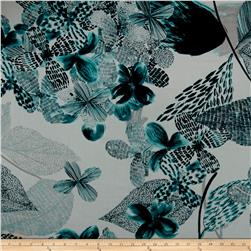 French Designer Cotton Voile Floral Teal/Black