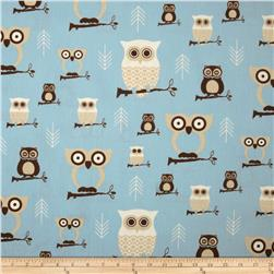 Premier Prints Hooty Mist/Putty Fabric