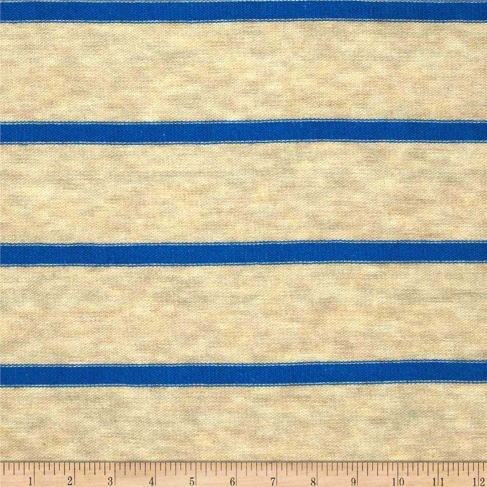 Stretch Sweater Knit Stripe Blue/Tan