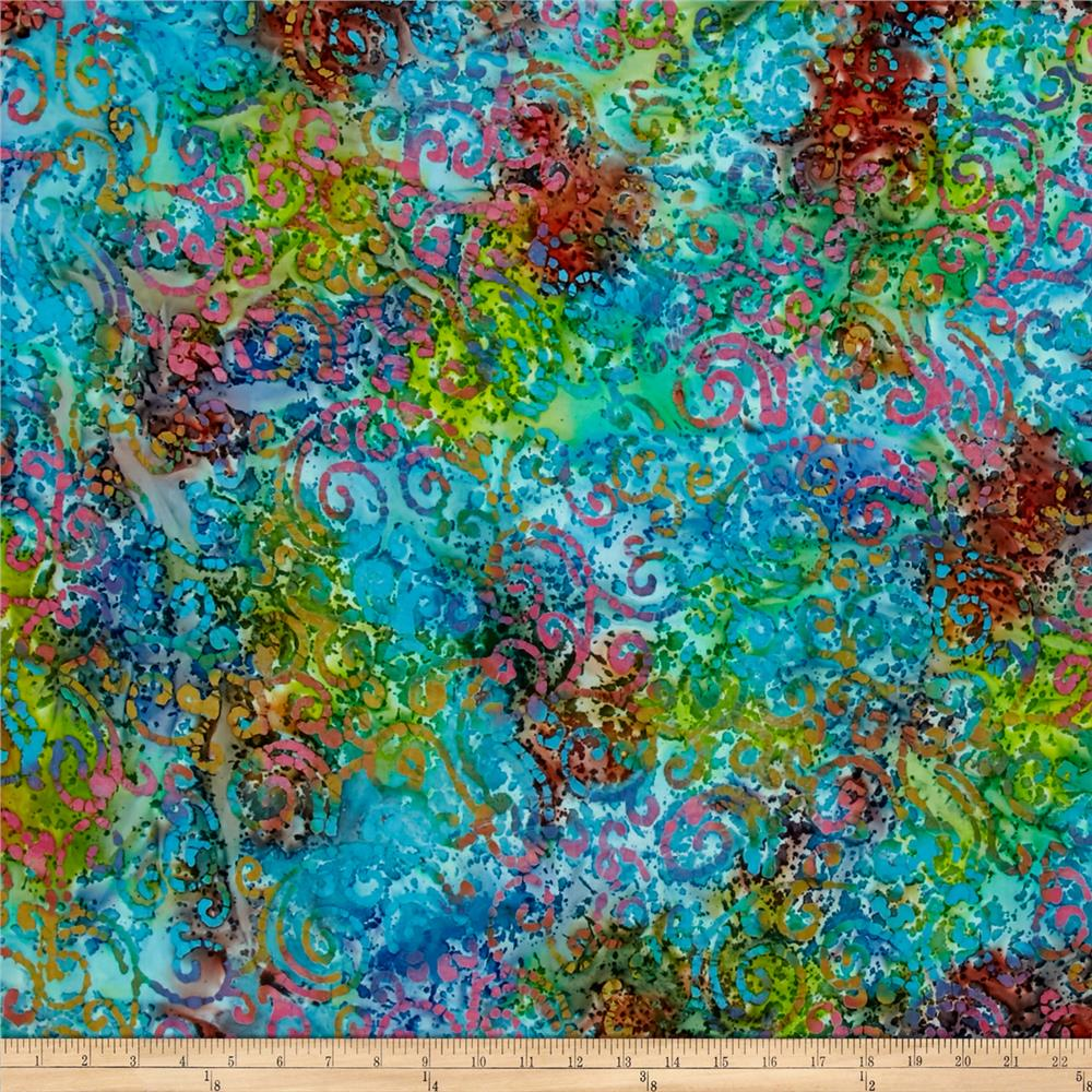 Indian Batik Cascades Scroll Aqua Multi