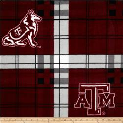 Texas A&M Fleece Plaid Maroon Fabric