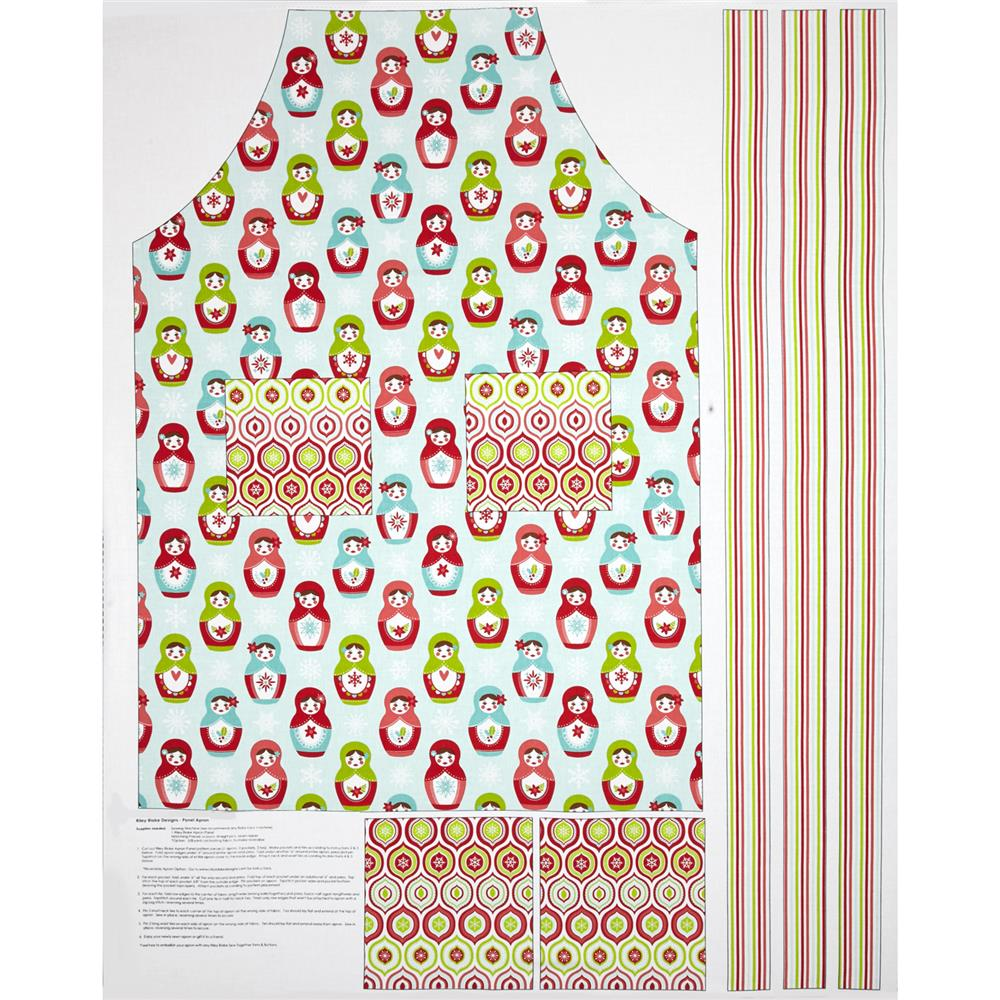 Riley Blake Merry Matryoshka Adult Apron Panel Multi Fabric By The Yard