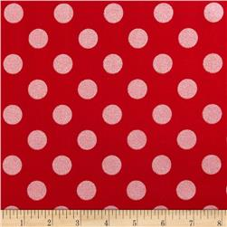 Riley Blake Hollywood Sparkle Medium Dot Red Fabric
