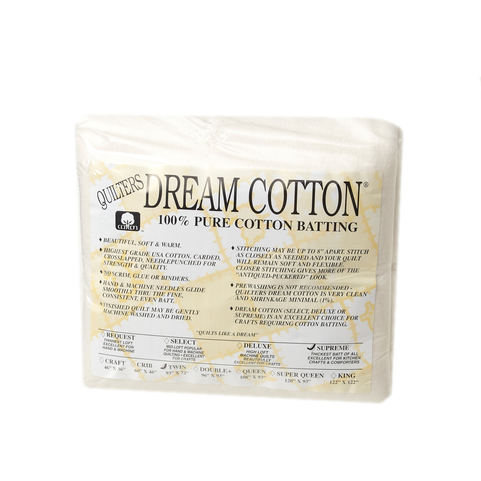 Quilter's Dream Natural Cotton Supreme Batting (93'' x 72'') Twin by Quilter's Dream in USA