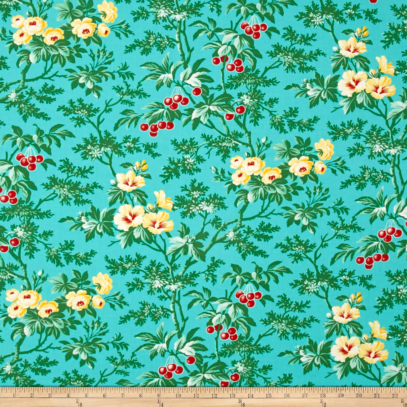 1940s Fabrics and Colors in Fashion Verna Mosquera Fruta y Flor Cherry Hill Aqua Fabric $9.35 AT vintagedancer.com