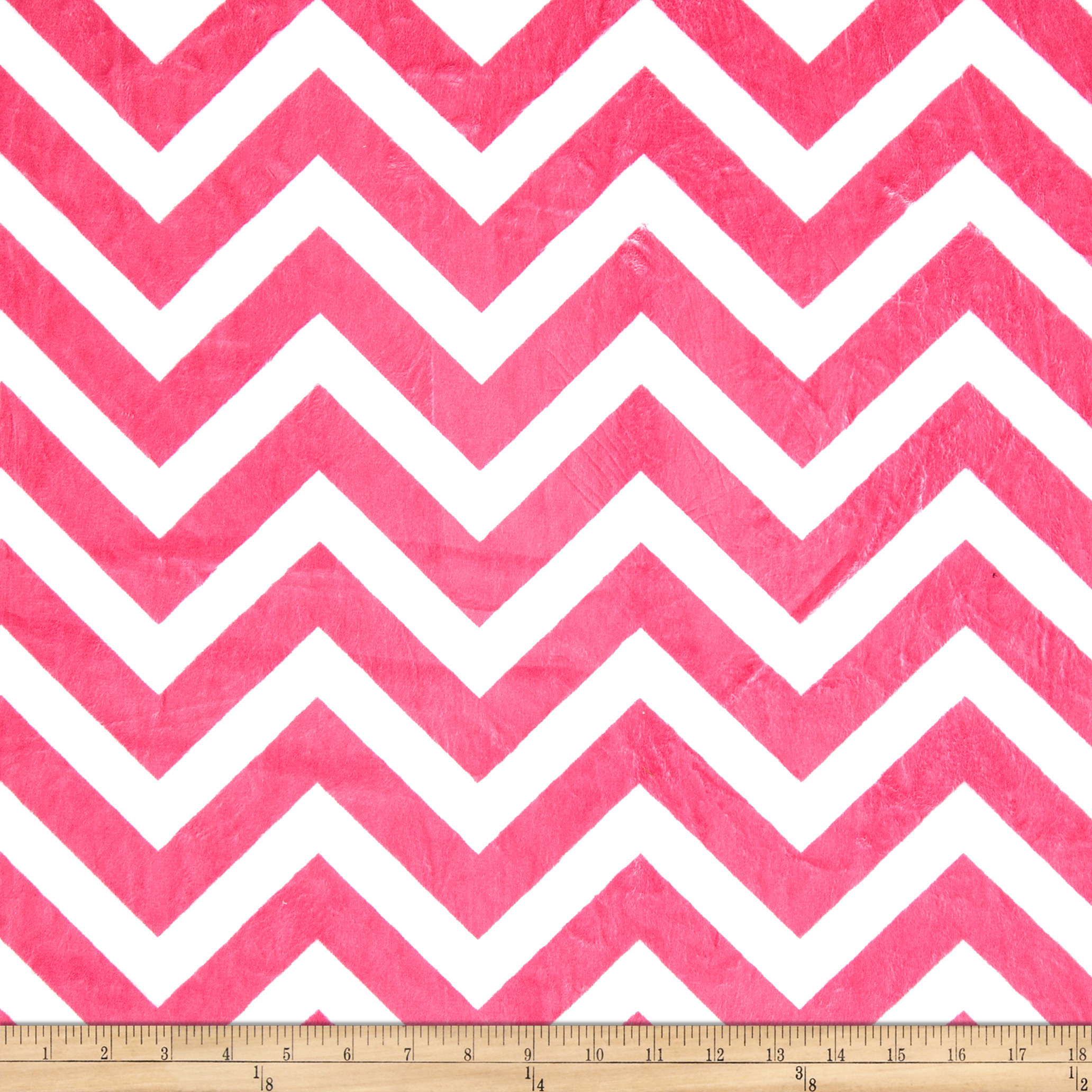 Minky Cuddle Chevron Fuchsia/Snow Fabric