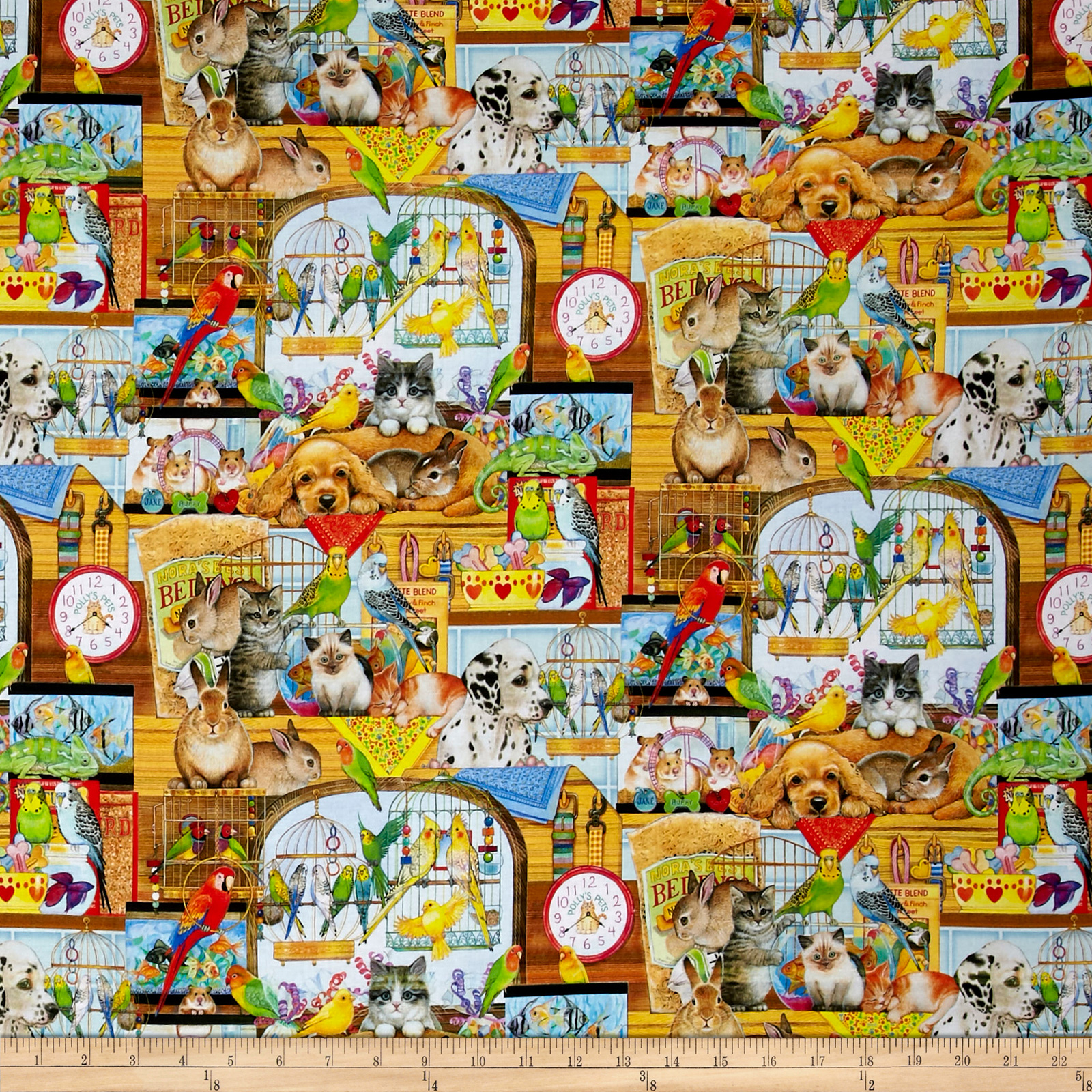Kaufman Whiskers & Tails Digital Print Americana EaglesFlags Pets Bright Fabric