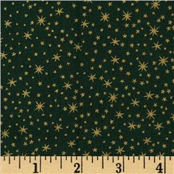 Holiday Metals Metallic Stars Green Fabric