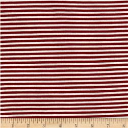 Jersey Knit Garnet Stripe on White
