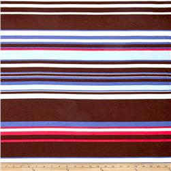 Rihan Jersey Knit Hot Pink/Brown/Sky Blue Stripe