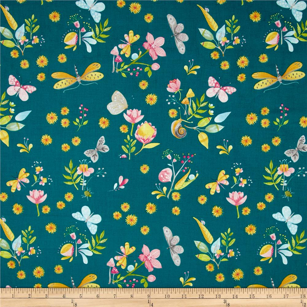 Michael miller nature walk little world teal discount for Fabric world
