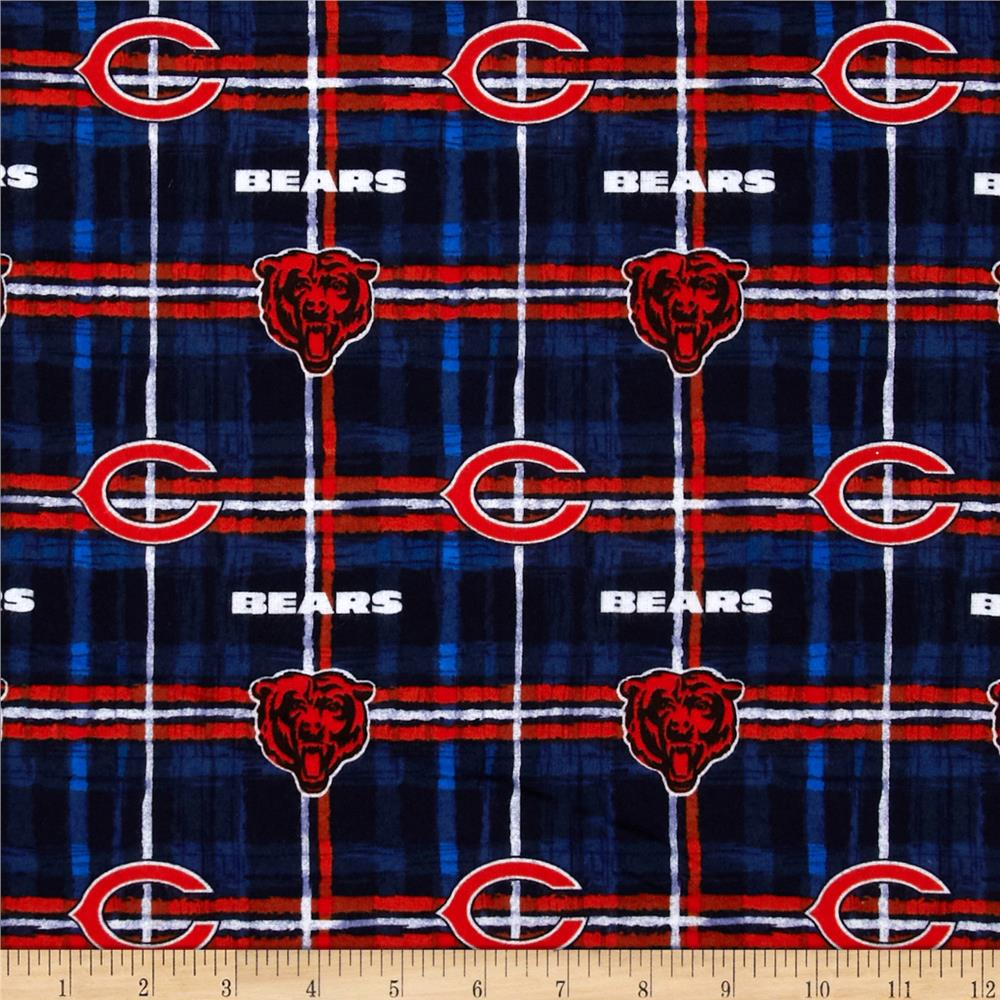 NFL Flannel Chicago Bears Blue/Orange Fabric