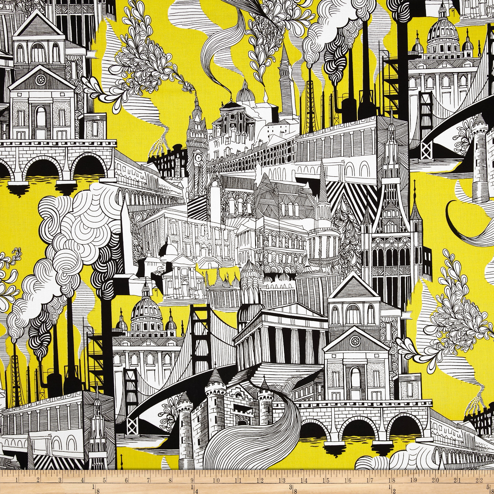 Black & White Smoke Stack City Black/White/Yellow Fabric