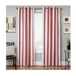 Sunbrella 84'' Grommet Stripe Outdoor Panel Natural/Jockey Red