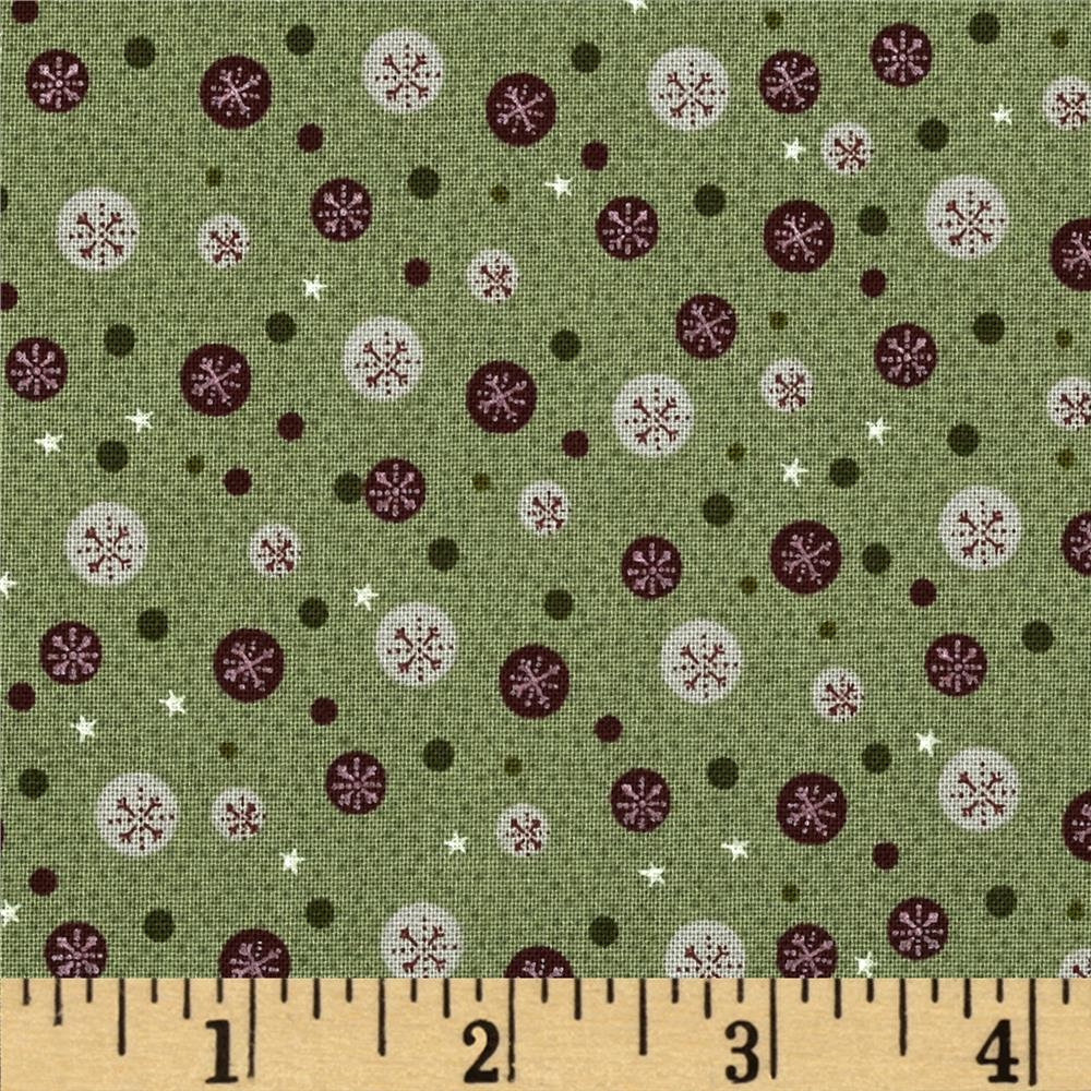 Winter Village Snowflake Dots Green