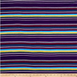 Rayon Spandex Jersey Knit Stripe Purple/Multi