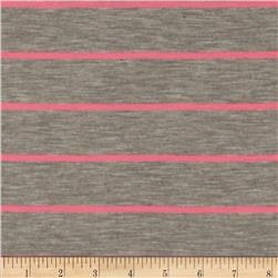 Designer Jersey Knit Yarn Dyed Stripes Grey/Hot Pink