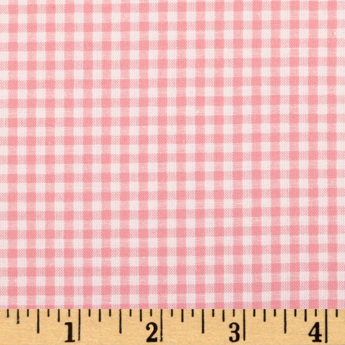 Kaufman 1/8'' Carolina Gingham Pink Fabric