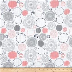 Embrace Double Gauze Whimsy Circle Coral