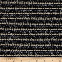 Italian Designer Wool Boucle Navy/Cream/Black
