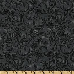 108'' Tonal Scroll Quilt Backing Charcoal Gray Fabric