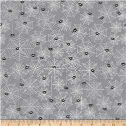 Riley Blake Halloween Parade Halloween Cobwebs Grey Fabric