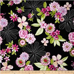 Michael Miller Delightful Garden Beauty Noir Fabric