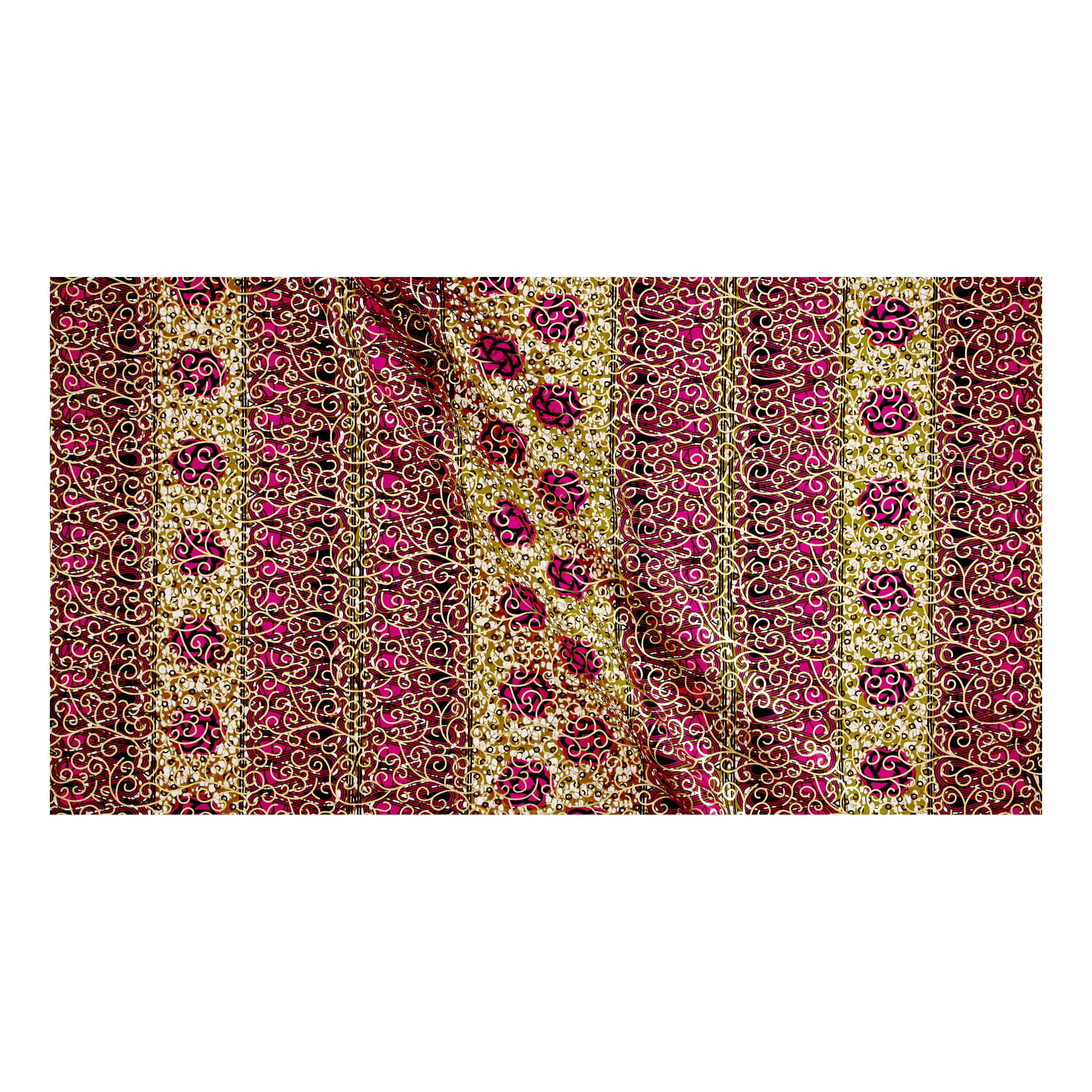 Supreme Osikani African Print Broadcloth 6 Yard Metallic Pink/tan