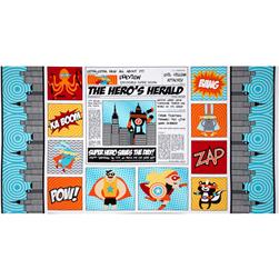 Superhero Panel Bright Newspaper Aqua Fabric